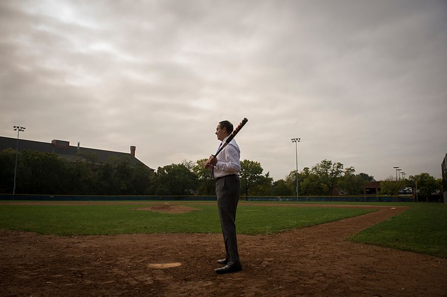 Washington D.C. Mayor Vincent Gray stands at the plate as he takes for a portrait Brentwood Hamilton Field in Washington, D.C., Tuesday, Oct. 9, 2012, where he played baseball as a child. Mayor Gray, a native of the nation's capital, has a life rooted in baseball. (Rod Lamkey Jr./The Washington Times)
