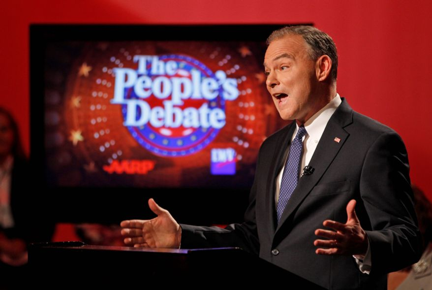 Former Virginia Gov. Tim Kaine, the Democratic candidate for Senate, gestures during a debate with his Republican challenger, former Sen. George Allen, in Richmond on Monday, Oct. 8, 2012. (AP Photo/Steve Helber)