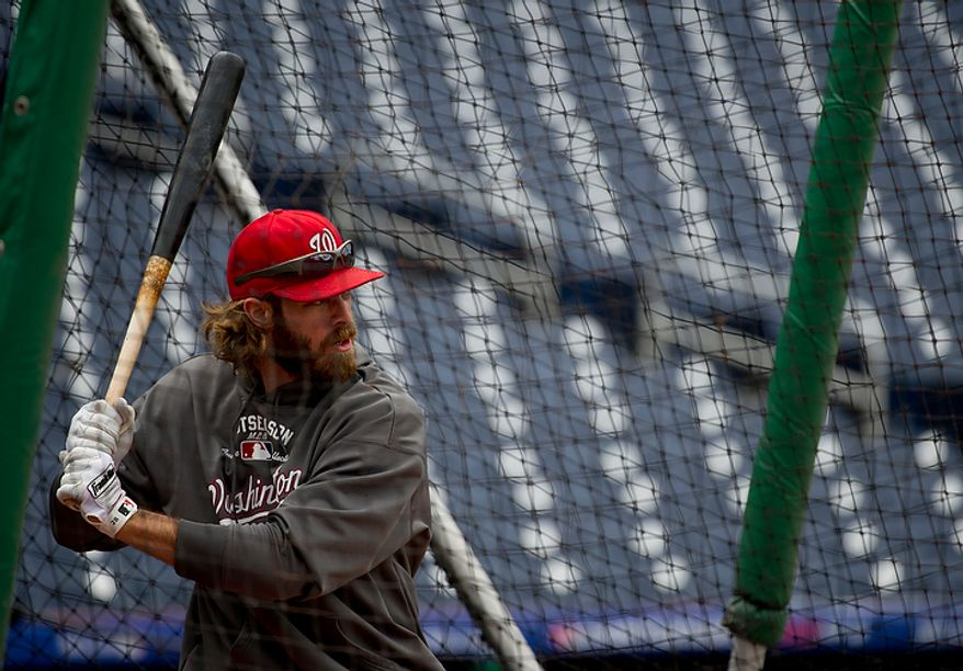 Washington Nationals outfielder Jayson Werth hits the ball during batting practice at Nationals Park on Tuesday, Oct. 9, 2012. On Wednesday, they play the St. Louis Cardinals at home. (Barbara L. Salisbury/The Washington Times)