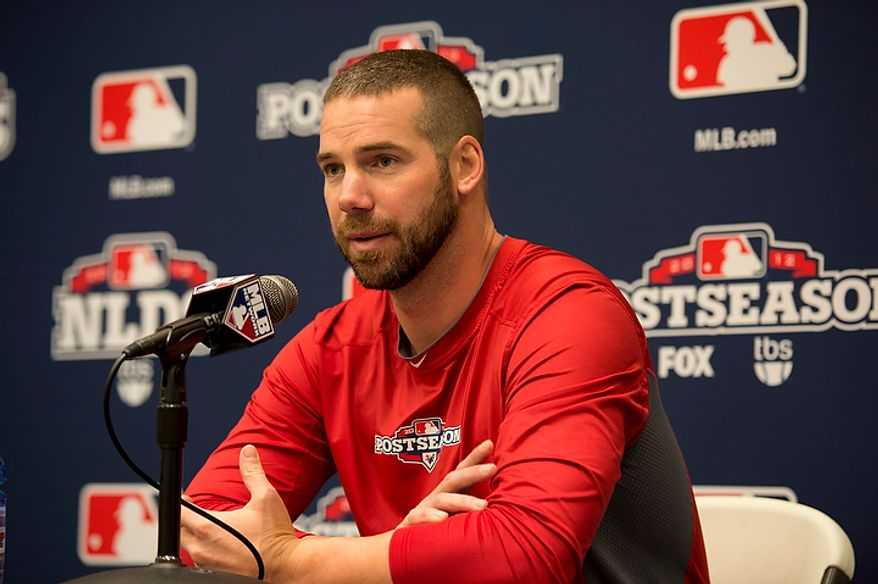 Saint Louis Cardinals pitcher Chris Carpenter talks to the media during a press conference at Nationals Park on Tuesday, Oct. 9, 2012. On Wednesday, they play the St. Louis Cardinals at home. (Barbara L. Salisbury/The Washington Times)