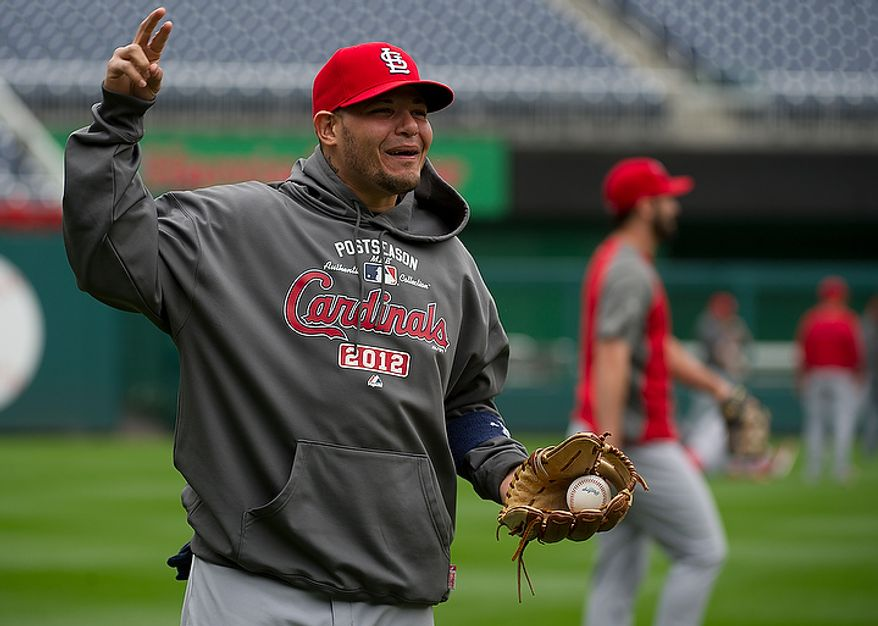The Saint Louis Cardinals work out at Nationals Park on Tuesday, Oct. 9, 2012. On Wednesday, they play the St. Louis Cardinals at home. (Barbara L. Salisbury/The Washington Times)