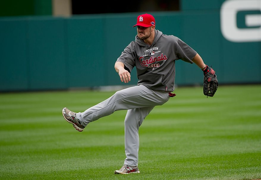 Saint Louis Cardinals player Skip Schumaker makes a face during a workout session at Nationals Park on Tuesday, Oct. 9, 2012. On Wednesday, they play the St. Louis Cardinals at home. (Barbara L. Salisbury/The Washington Times)