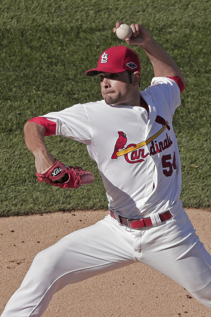 St. Louis Cardinals starting pitcher Jaime Garcia throws during the first inning of Game 2 of the National League division baseball series against the Washington Nationals Monday, Oct. 8, 2012, in St. Louis. (AP Photo/Charlie Riedel)
