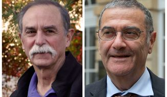 In this combination of photos from Oct. 9, 2012, American physicist David Wineland (left) poses at his home in Boulder, Colo., and French physicist Serge Haroche speaks to the media in Paris after they were named winners of the 2012 Nobel Prize in physics. The French-American duo shared the prize for experiments on quantum particles that have already resulted in ultra-precise clocks and may one day help lead to computers many times faster than those in use today. (Associated Press)