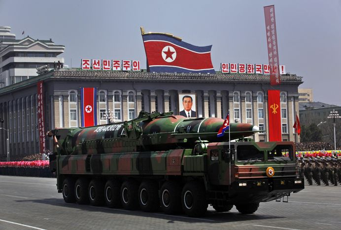 A North Korean vehicle carrying what appears to be a new missile passes by during a mass military parade in Kim Il-sung Square in Pyongyang, North Korea, on Sunday, April 15, 2012, to celebrate the 100th birthday anniversary of Kim, the late North Korean founder. (AP Photo/Vincent Yu, File)