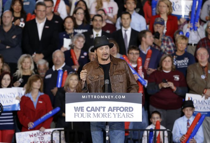 Recording artist Kid Rock speaks before introducing Republican vice presidential candidate Paul Ryan during an Oct. 8, 2012, rally at Oakland University in Rochester, Mich. (Associated Press