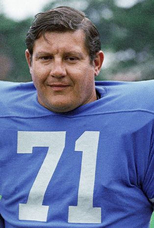 Former actor and Detroit Lions lineman Alex Karras, seen in 1971, died Wednesday at age 77. In April, he joined other former NFL players suing the league for not protecting them better from head injuries. (Associated Press)