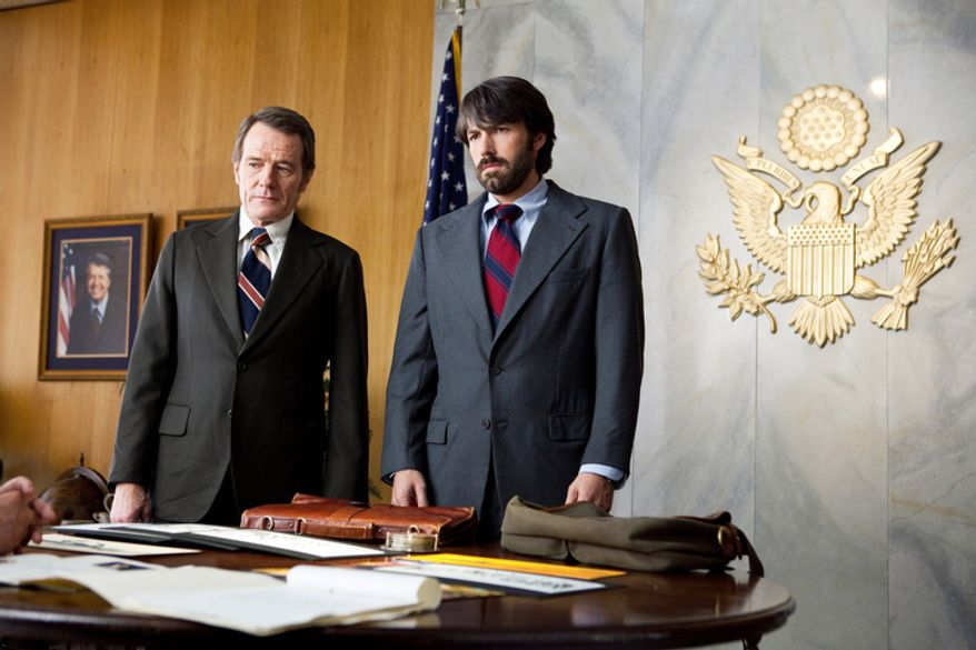 """This film image released by Warner Bros. Pictures shows Bryan Cranston, left, as Jack OíDonnell and Ben Affleck as Tony Mendez in """"Argo,""""  a rescue thriller about the 1979 Iranian hostage crisis. (AP Photo/Warner Bros., Claire Folger)"""