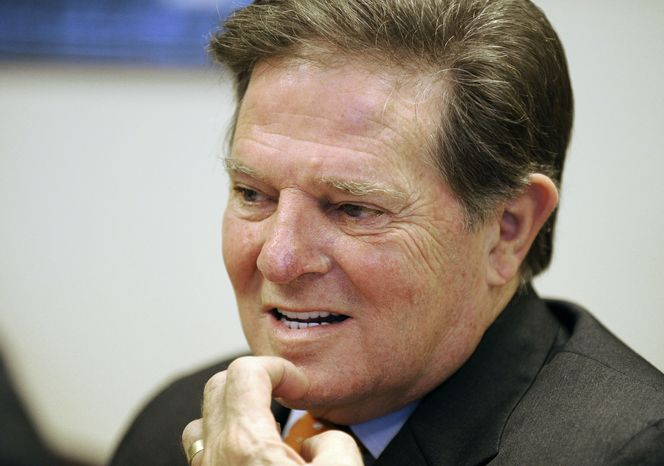 ** FILE ** Former House Majority Leader Tom DeLay, Texas Republican, speaks about his upcoming appeal of a money-laundering conviction at his attorney's office in Houston on Wednesday, Sept. 19, 2012. (AP Photo/Pat Sullivan)
