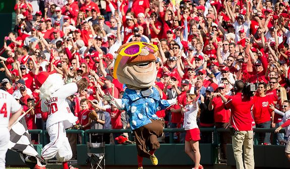 Teddy wins the presidents race again as the Washington Nationals play the St. Louis Cardinals in game three of Major League Baseball playoffs at Nationals Park, Washington, D.C., Wednesday, October 10, 2012. (Andrew Harnik/The Washington Times)