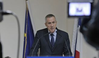 French Prosecutor Francois Molins, during a news conference in Paris on Wednesday, Oct. 10, 2012, describes the discovery of bomb-making materials believed to belong to a suspected terrorist cell. (AP Photo/Francois Mori)