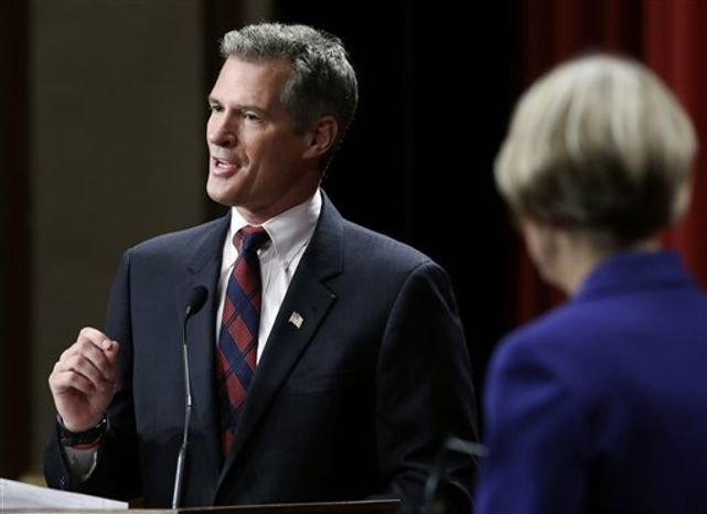 Republican Sen. Scott Brown speaks during a debate with Democratic challenger Elizabeth Warren in Springfield, Mass., Wednesday, Oct. 10, 2012. (AP Photo/Elise Amendola)