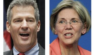 ** FILE ** These 2012 file photos show incumbent Sen. Scott Brown, R-Mass., left, and Democratic challenger Elizabeth Warren, in Boston. (AP File Photos)