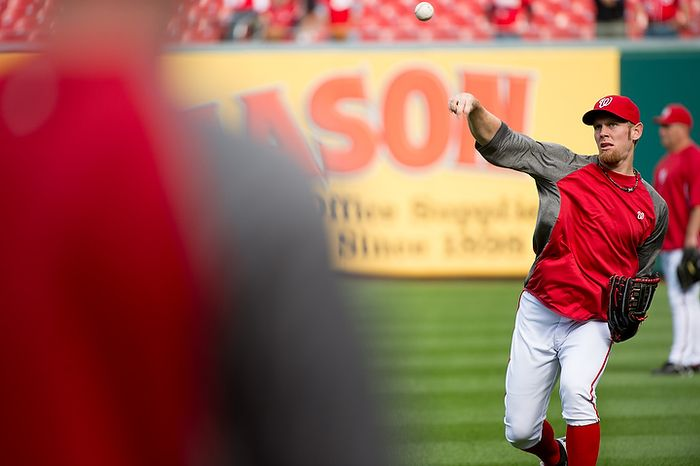 Washington Nationals pitcher Stephen Strasburg (37) warms up before the Nats play the St. Louis Cardinals in game three of the National League Division Series at Nationals Park in Washington on Wednesday, Oct. 10, 2012. (Andrew Harnik/The Washington Times)
