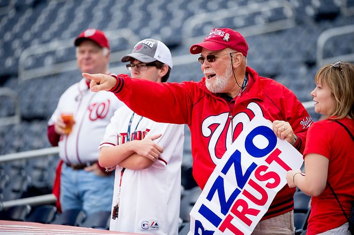 Fans watch warm-ups before the Washington Nationals play the St. Louis Cardinals in game three of the National League Division Series at Nationals Park in Washington on Wednesday, Oct. 10, 2012. (Andrew Harnik/The Washington Times)