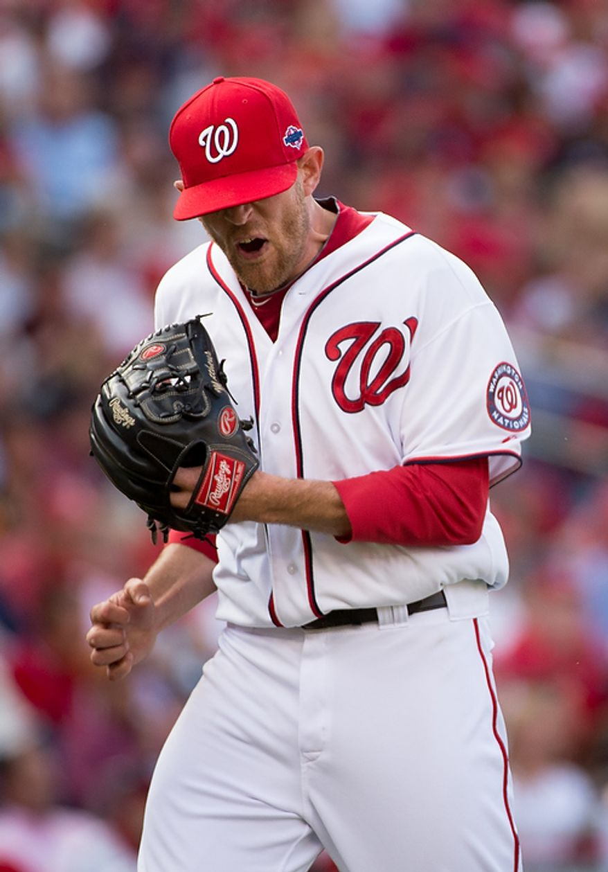 Washington Nationals relief pitcher Ryan Mattheus (52) shows his frustration after giving up two runs in the eight inning as the Washington Nationals lose to the St. Louis Cardinals 8-0 in game three of the National League Division Series at Nationals Park, Washington, D.C., Wednesday, October 10, 2012. (Andrew Harnik/The Washington Times)