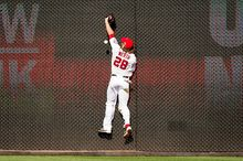 Washington Nationals right fielder Jayson Werth (28) misses a catch against the wall in the sixth inning hit by St. Louis Cardinals third baseman David Freese (23) as the Washington Nationals play the St. Louis Cardinals in game three of the National League Division Series at Nationals Park, Washington, D.C., Wednesday, October 10, 2012. (Andrew Harnik/The Washington Times)