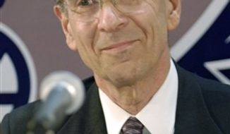 ** FILE ** Dr. Robert Lefkowitz, of Duke University Medical Center, one of three winners of the Albany Medical Center Prize in Medicine and Biomedical Research, listens to remarks at a news conference at Albany Medical Center in Albany, N.Y., in this April 26, 2007, file photo. (AP Photo/Tim Roske, File)