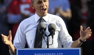 **FILE** President Obama speaks Oct. 9, 2012, at a campaign event in Columbus, Ohio. (Associated Press)