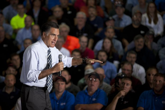 Republican presidential candidate Mitt Romney speaks Oct. 10, 2012, during a town hall meeting at Ariel Corporation in Mt. Vernon, Ohio. (Associated Press)