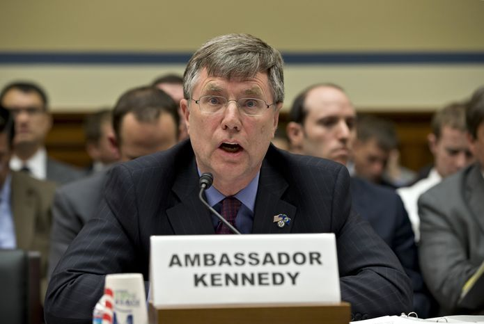 Patrick Kennedy, undersecretary of state for management, testifies on Capitol Hill in Washington on Wednesday, Oct. 10, 2012, before the House Oversight and Government Reform Committee hearing investigating the Sept. 11, 2012, attack on the U.S. Consulate in Benghazi, Libya, that resulted in the death of U.S. Ambassador J. Christopher Stevens and three other Americans. (AP Photo/J. Scott Applewhite)