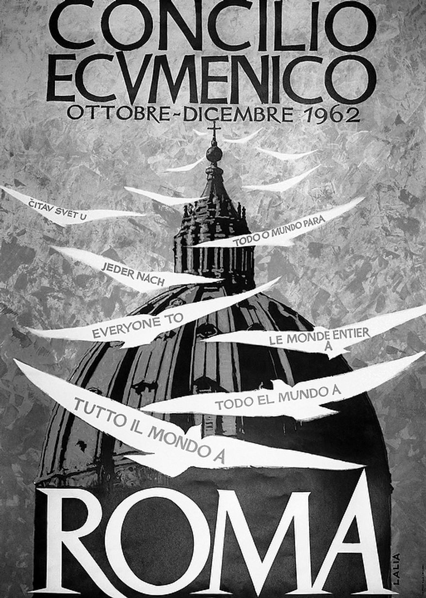 "To attract tourists to Rome during the Ecumenical Council of the Roman Catholic Church, this big poster, seen Sept. 27, 1962, was distributed all over the world, sponsored by the Italian Tourist Organization.  It shows stylized doves carrying the words ""Everyone to"" in seven languages, against a background of the huge dome of St. Peter's Basilica in Vatican City. (AP Photo)"