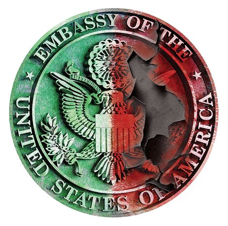 Illustration Embassy Seal by Alexander Hunter for The Washington Times