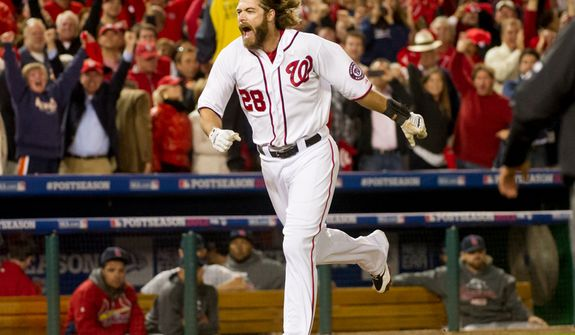 Washington Nationals right fielder Jayson Werth (28) hits a walk off home run in the bottom of the ninth inning to beat the St. Louis Cardinals 2-1 in game four of the National League Division Series at Nationals Park, Washington, D.C., Thursday, October 11, 2012. (Andrew Harnik/The Washington Times)