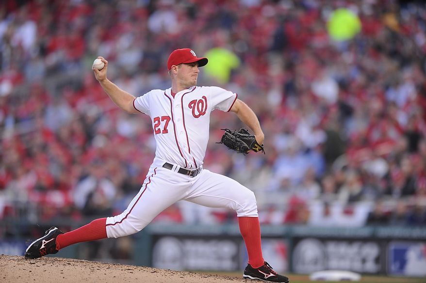 Washington Nationals starting pitcher Jordan Zimmermann (27) strikes out the side in the seventh inning during Game 4 of the National League Division Series between the Washington Nationals and the St. Louis Cardinals at Nationals Park, Thursday, October 11, 2012. (Preston Keres/Special to The Washington Times)