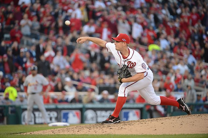 Washington Nationals starting pitcher Jordan Zimmermann (27) strikes out the side in the seventh inning during Game 4 of the National League Division Series between the Washington Nationals and the St. Louis Cardinals at Nationals Park, Thursday, October 11, 2012.  (Andrew Harnik/The Washington Times)