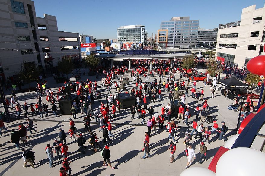 Nationals fans file into Nationals Park for Game 4 of the National League Division Series between the Washington Nationals and the St. Louis Cardinals at Nationals Park, Thursday, October 11, 2012. (Craig Bisacre/The Washington Times)