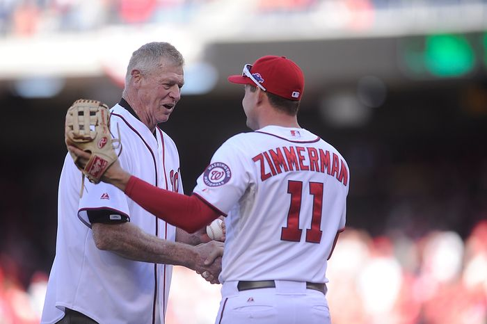 Former Washington Senators great Frank Howard throws out the ceremonial first pitch to Nationals third baseman Ryan Zimmerman before Game 4 of the National League Division Series between the Washington Nationals and the St. Louis Cardinals at Nationals Park, Thursday, October 11, 2012.  (Preston Keres/Special to The Washington Times)