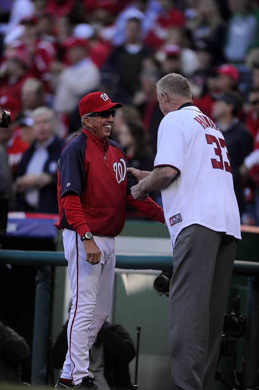 Nationals manager Davey Johnson greets former Washington Senators great Frank Howard throws out the ceremonial first pitch beforeGame 4 of the National League Division Series between the Washington Nationals and the St. Louis Cardinals at Nationals Park, Thursday, October 11, 2012. (Preston Keres/Special to The Washington Times)