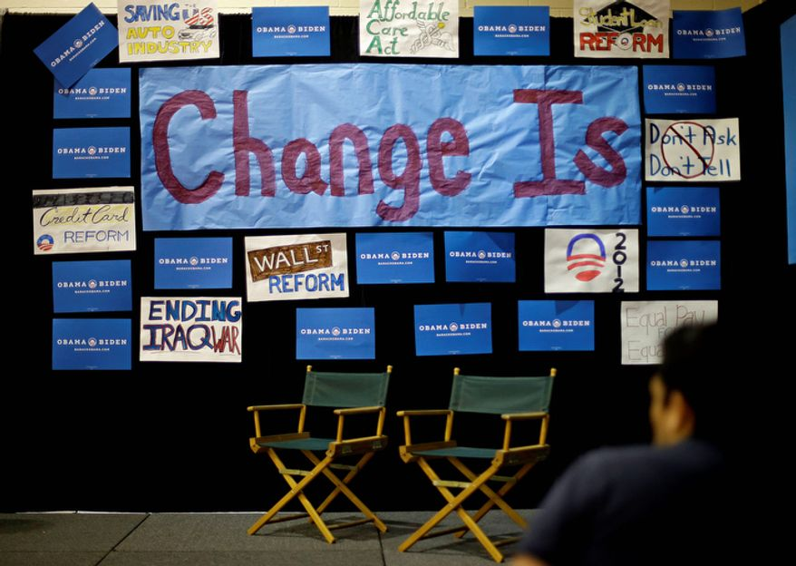 The corner for President Obama's campaign is seen Oct. 11, 2012, in the spin room of the media center at Centre College in Danville, Ky., ahead of the debate between Vice President Joseph R. Biden and Republican vice presidential candidate Paul Ryan. (Associated Press)