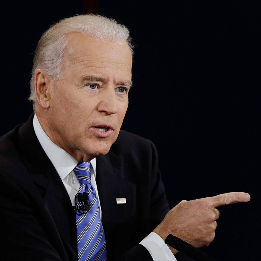 Vice President Joe Biden answers a question during the vice presidential debate at Centre College. (AP Photo/Charlie Neibergall)