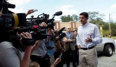 Republican vice presidential candidate Paul Ryan speaks Oct. 10, 2012, to reporters outside Old Farmers Creamery in St. Petersburg, Fla. (Associated Press)