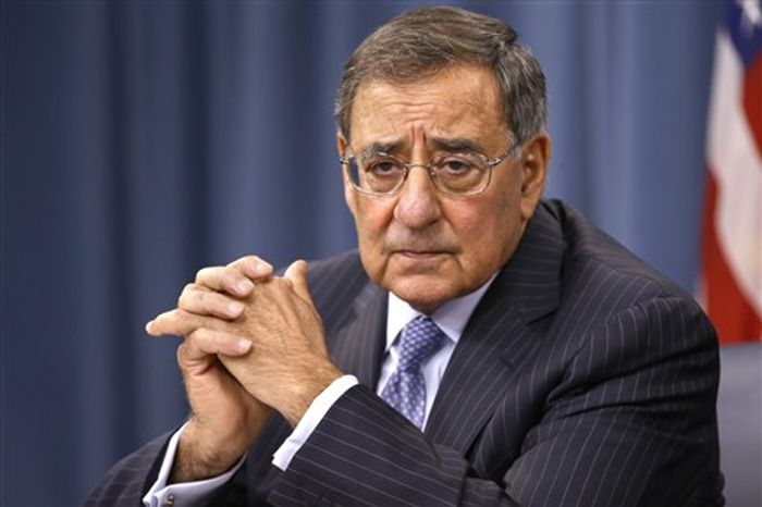 ** FILE ** In this Sept. 27, 2012, file photo, U.S. Defense Secretary Leon Panetta, speaks at a news conference with U.S. Chairman of the Joint Chiefs of Staff Gen. Martin Dempsey, not pictured, at the Pentagon, in