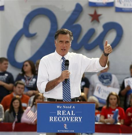 Republican presidential candidate, former Massachusetts Gov. Mitt Romney, speaks during a campaign rally at Shawnee State University, Saturday, Oct. 13, 2012, in Po