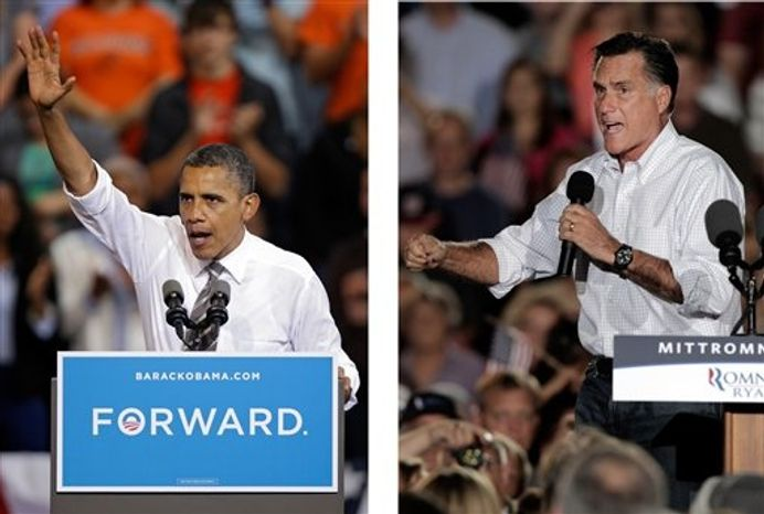 ** FILE ** In these Sept. 26, 2012, file photo, President Barack Obama and Republican presidential candidate Mitt Romney both campaign in the battleground state of