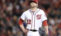 Washington Nationals closer Drew Storen (22) shows his frustration after giving up four runs in the top of the 9th to relinquish the lead to the St. Louis Cardinals in Game 5 of the National League Division Series between the Washington Nationals and the St. Louis Cardinals at Nationals Park, Friday, October 12, 2012. (Preston Keres/Special to The Washington Times)