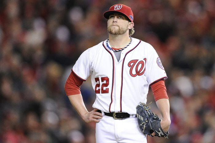 Washington Nationals closer Drew Storen (22) shows his frustration after giving up four runs in the top of the 9th to relinquish the lead to the St. Louis Cardinals in Game 5 of the National League Division Series between the Washington Nationals and th