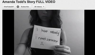 Here is a screenshot of Amanda Todd's video on YouTube.