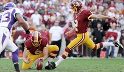 Washington Redskins kicker Kai Forbath (2) kicks a 50-yard field goal in the second quarter for the first Redskins score at FedEx Field, Landover, Md., Oct. 14, 2012. (Preston Keres/Special to The Washington Times)