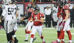 associated press Falcons kicker Matt Bryant converted his longest field goal since 2009, a 55-yard field goal with 1 second on the clock, to help Atlanta beat the Raiders 23-20.