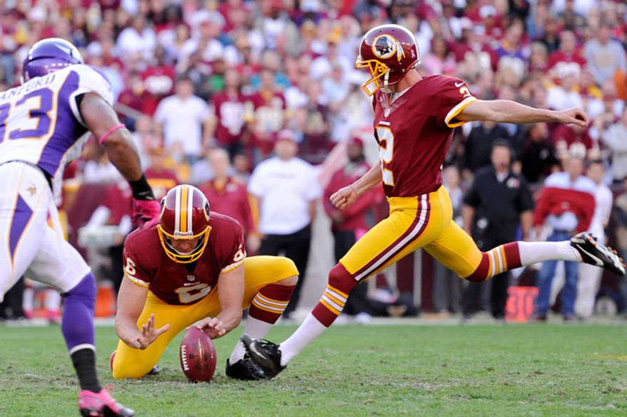 Washington Redskins kicker Kai Forbath (2) kicks a 50-yard field goal in the second quarter for the first Redskins score. (Preston Keres/Special to The Washington Times)
