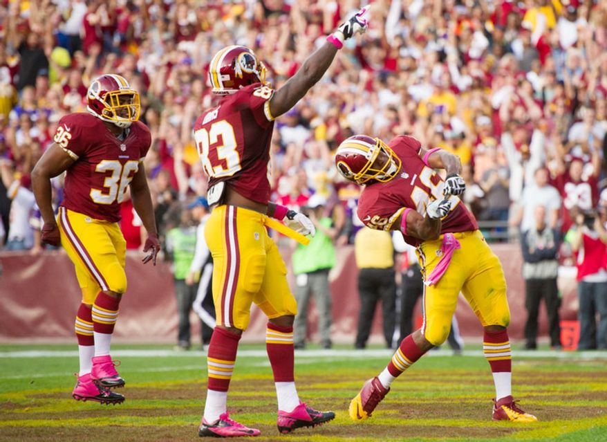 Washington Redskins running back Alfred Morris (46) celebrates a one yard running play in the second quarter as the Washington Redskins play the Minnesota Vikings at FedEx Field. (Andrew Harnik/The Washington Times)