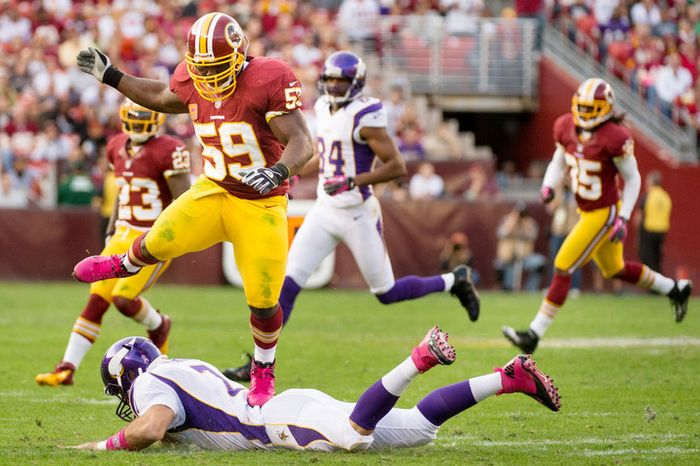 Washington Redskins inside linebacker London Fletcher (59) steps on Minnesota Vikings quarterback Christian Ponder (7) after he slides in the second quarter as the Washington Redskins play the Minnesota Vikings. (Andrew Harnik/The Washington Times)