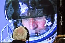 Skydiver Felix Baumgartner of Austria is seen on a screen at mission control center in Roswell, N.M., on Sunday, Oct. 14, 2012, as his capsule climbs to an altitude of 120,000 feet. (AP Photo/Red Bull, Stefan Aufschnaiter)