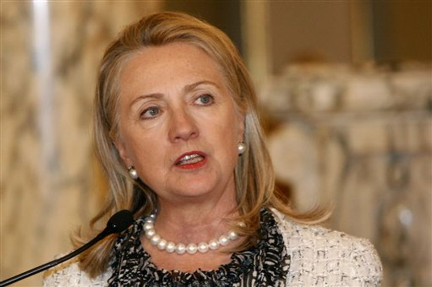 U.S. Secretary of State Hillary Rodham Clinton pauses while delivering a speech after meeting Peru's President Ollanta Humala in Lima, Peru, Monday, Oct. 15, 2012. Taking responsibility for security at the U.S. consulate in Libya where an attack by extremists last month killed the U.S. ambassador and three other Americans, Clinton said Monday in Lima, that security at all of America's diplomatic missions abroad is her job, not that of the White House. (AP Photo/Karel Navarro)