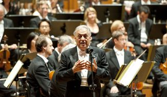Conductor Zubin Mehta leads the Munich Philharmonic on Wednesday, July 4, 2012, in Munich. (AP Photo/Lukas Barth, dapd)